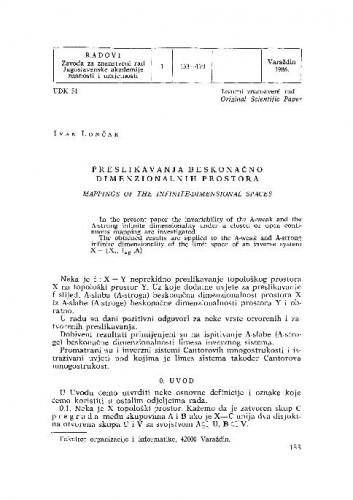 Preslikavanja beskonačno dimenzionalnih prostora / Ivan Lončar