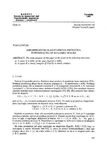 Hiperprostori H-zatvorenih prostora / Ivan Lončar