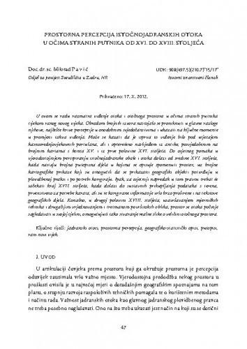 Prostorna percepcija istočnojadranskih otoka u očima stranih putnika od XVI. do XVIII. stoljeća / Milorad Pavić