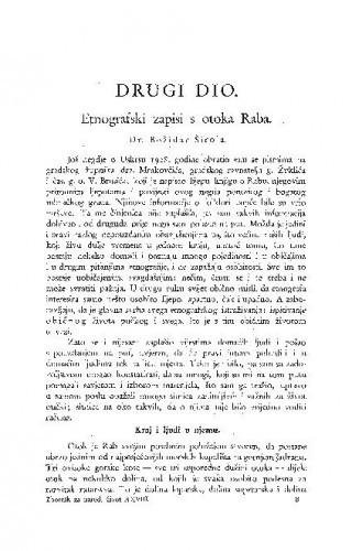 Etnografski zapisi s otoka Raba / B. Širola