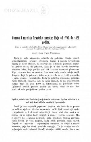 Obrana i razvitak hrvatske narodne ideje od 1790. do 1835. godine / T. Smičiklas