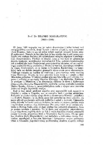 Prof. Dr Branko Magarašević (1892-1968) : [nekrolog] / B. Gušić