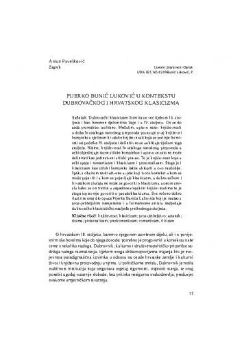Pijerko Bunić Luković u kontekstu dubrovačkog i hrvatskog klasicizma / Antun Pavešković