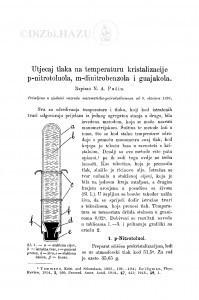 Utjecaj tlaka na temperaturu kristalizacije p-nitrotoulola, m-dinitrobenzola i guajakola / N. A. Pušin
