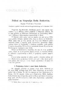 Prilozi za biografiju Ruđa Boškovića / V. Varićak