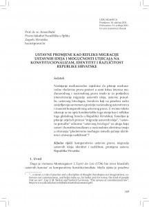 Ustavne promjene kao refleks migracije ustavnih ideja i mogućnosti utjecaja na konstitucionalizam, identitet i različitost Republike Hrvatske / Arsen Bačić