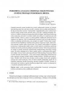 Poredbena analiza uređenja nekih pitanja ovršne prodaje pomorskog broda / Dean Vuleta