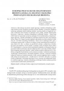 Europski pravni okvir odgovornosti brodovlasnika za sigurno i ekološki prihvatljivo recikliranje brodova / Željka Primorac