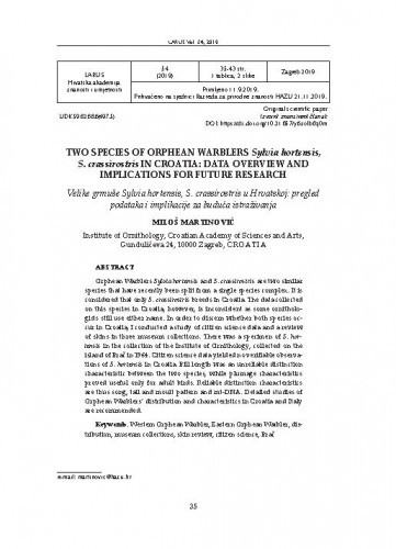 Two species of Orphean Warblers Sylvia hortensis, S. crassirostris in Croatia: data overview and implications for future research / Miloš Martinović