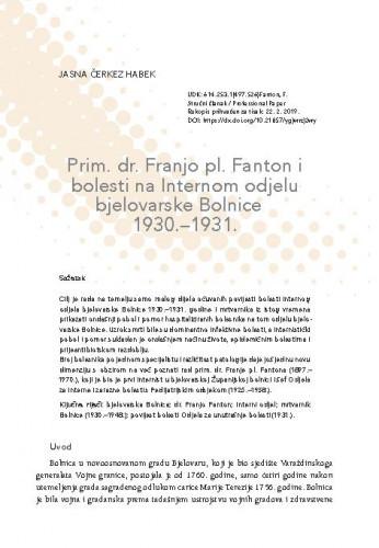 Prim. dr. Franjo pl. Fanton i bolesti na Internom odjelu bjelovarske Bolnice 1930.-1931. / Jasna Čerkez Habek