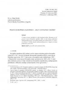 Pravo Europske zajednice - self contained režim? / Maja Seršić