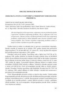 Osigurana svota i ugovorena vrijednost osiguranog predmeta (Vrhovni sud Republike Hrvatske, presuda broj: Revt-61/02-2 od 4. 12. 2003.) / Vesna Skorupan Wolff
