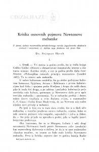 Kritika osnovnih pojmova Newtonove mehanike / S. Škreb