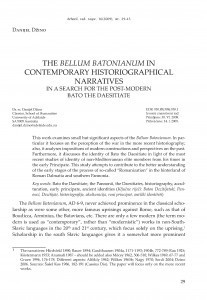 The Bellum Batonianum in contemporary historiographical narratives : in a search for the post-modern Bato the Daesitiate / Danijel Džino