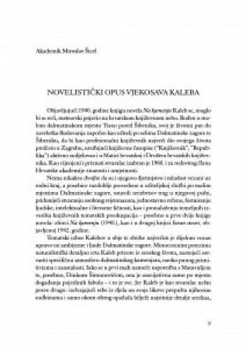 Novelistički opus Vjekoslava Kaleba / Miroslav Šicel