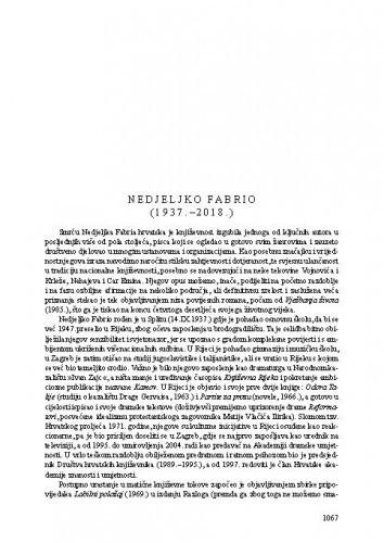 Nedjeljko Fabrio (1937.-2018.) : [nekrolog] / Tonko Maroević