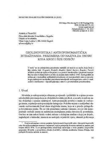 Geolingvistika i antroponomastička istraživanja: prezimena od naziva za osobu koja kroji i šije odjeću / Anđela Frančić