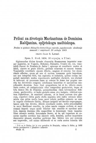 Prilozi za životopis Markantuna de Dominisa Rabljanina, spljetskoga nadbiskupa / Sime Ljubić
