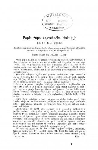 Popis župa zagrebačke biskupije 1334 i 1501 godine / Franjo Rački