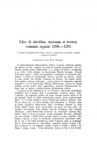Liber de introitibus stacionum et territorii communis ragusini 1286-1291 / Ivan Tkalčić