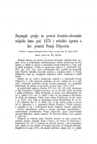 Dopunjak gradje za poviest hrvatsko-slovenske seljačke bune god. 1573 i nekoliko izprava o hrv. poturici Franji Filipoviću / Franjo Rački