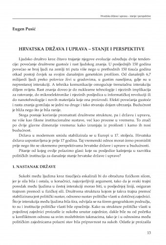 Hrvatska država i uprava - stanje i perspektive : [uvodno izlaganje] / Eugen Pusić