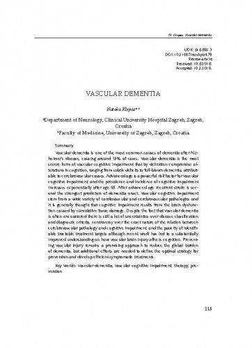 Vascular dementia / Nataša Klepac