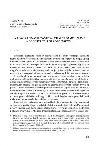Nadzor i pravna zaštita lokalne samouprave - de lege lata i de lege ferenda : [uvodno izlaganje] / Teodor Antić
