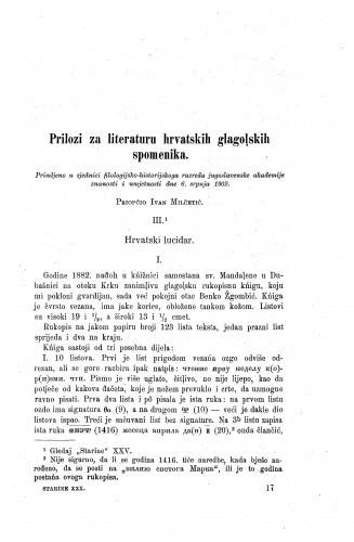 Prilozi za literaturu hrvatskih glagolskih spomenika : hrvatski lucidar / Ivan Milčetić