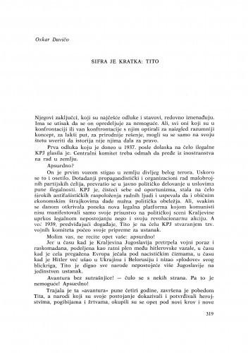 Šifra je kratka: Tito / O. Davičo