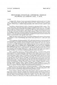 Imovinski inventar i oporuka Nikole Petheöa iz godine 1642 i 1650 / Alojz Jembrih