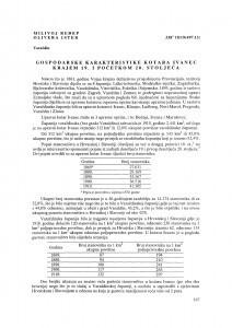 Gospodarske karakteristike kotara Ivanec krajem 19. i početkom 20. stoljeća / Milivoj Ređep ; Olivera Ister