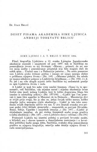 Deset pisama akademika Šime Ljubića Andriji Torkvatu Brliću / Ivan Ljubić ; priopćio Ivan Brlić