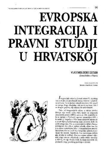 Evropska integracija i pravni studiji u Hrvatskoj / Vladimir-Đuro Degan