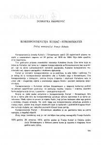 Korespondencija Kuhač-Strossmayer : prilog monografiji Franje Kuhača / D. Franković