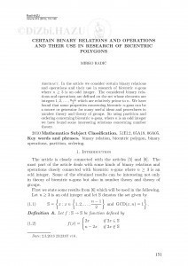 Certain binary relations and operations and their use in research of biocentric polygons / Mirko Radić