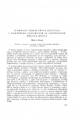 O odnosu nekih vrsta gljivica i bakterija iz genitalnih organa krava / M. Hajsig