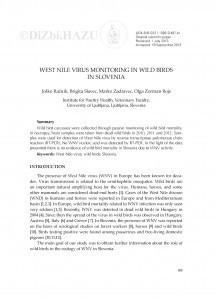 West Nile virus monitoring in wild birds in Slovenia / Joško Račnik, Brigita Slavec, Marko Zadravec, Olga Zorman Rojs