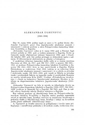 Aleksandar Ugrenović (1883-1958) : [nekrolog] / A. Kauders