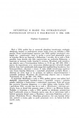 Izvještaj o radu na istraživanju patologije ovaca u Dalmaciji u 1956. god. / V. Cvjetanović