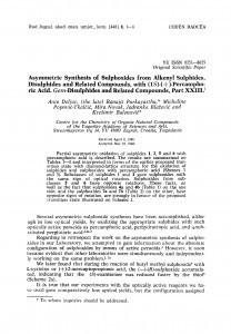 Asymmetric synthesis of sulphoxides from alkenyl sulphides, disulphides and related compounds, with (1S)-(+)-percamphoric acid. Gem-disulphides and related compounds, part XXIII / A. Deljac, R. Purkayastha, M. Popović-Tkalčić, M. Novak, J. Blažević, K. Balenović