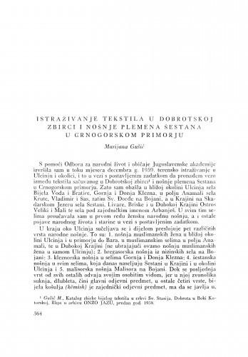Istraživanje tekstila u Dobrotskoj zbirci i nošenje plemena Šestana u Crnogorskom primorju / M. Gušić