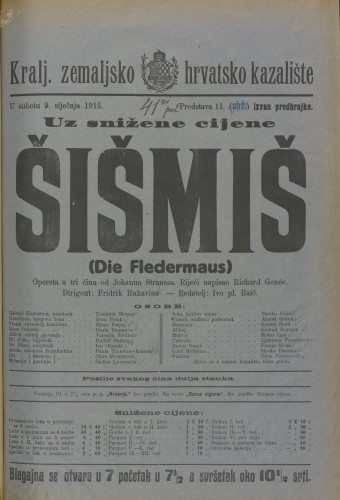 Šišmiš : Opereta u tri čina  =  Die Fledermaus