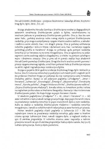 Nenad Cambi, Dioklecijan — povijesne kontroverze i današnje dileme, Književni krug Split, Split, 2016. : [prikaz] / Krešimir Mijić