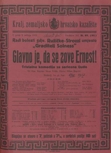 Glavno je da se zove Ernest! Trivijalna komedija za serijoznu čeljad u tri čina  =  The importance of being Earnest