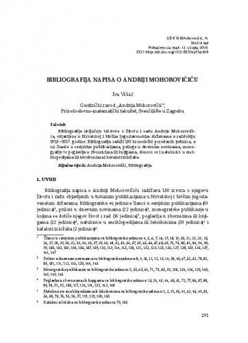 Bibliografija napisa o Andriji Mohorovičiću / Iva Vrkić