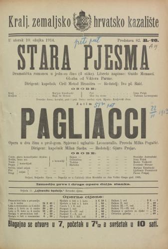 Stara pjesma ; Pagliacci Dramatička romanca u jednom činu (3 slike) ; Opera u dva čina s prologom