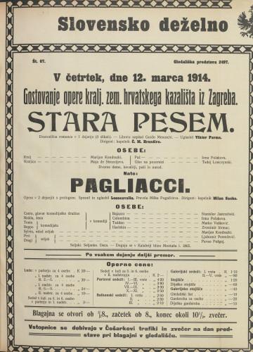 Stara pesem ; Pagliacci : Dramatična romanca v 1 dejanju (3 slikah): Opera v 2 dejanjih s prologom