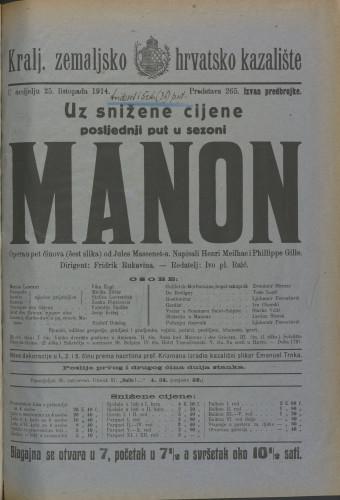 Manon Opera u pet činova (šest slika)