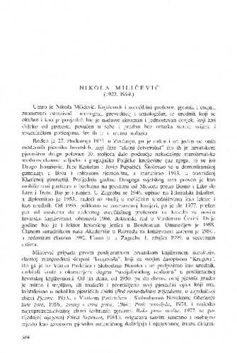 Nikola Milićević (1922.-1999.) / Dubravko Jelčić